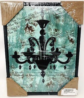 Green Leaf Art Framed Canvas Art, Small, Vintage Chandelier I - SEALED 14x11