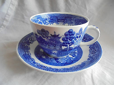 Antique willow ridgeway cup and saucer. North Staffordshire pottery.est 1792