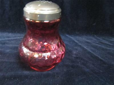 Vintage Fenton Cranberry Overlay Dot Optic Glass Sugar Shaker Castor