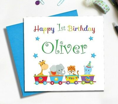 First birthday card circus theme personalised 1st son grandson first birthday card circus theme personalised 1st son grandson nephew bookmarktalkfo Images