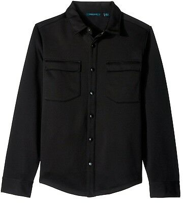 Perry Ellis Mens Button Front Pocketed Knit Shirt Jacket Small S Black $89
