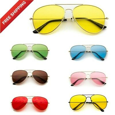 115cf390be CLASSIC AVIATOR STYLE Metal Frame Sunglasses Colored Lens.