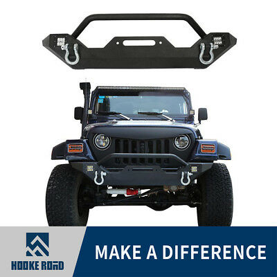 Rock Crawler Front Bumper w/LED Lights&Winch Plate for 87-06 Jeep Wrangler TJ YJ