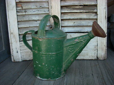 Antique Vintage Garden Watering Sprinkler Can Bucket Old Green Paint  Small #4