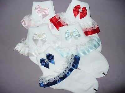 Girls White Ribbon Lace Ruffle Bow Wedding Pageant Christening Ankle Socks NWD