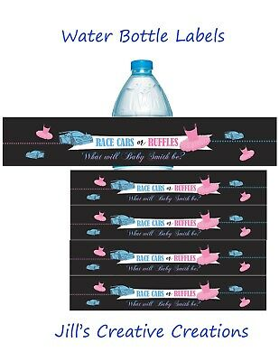 Gender Reveal water bottle labels, Race cars and ruffles, Gender Reveal