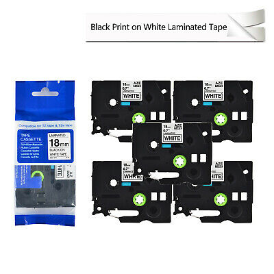 """5PK TZe241 TZ 241 Black on White Label Tape For Brother P-Touch PT-330 18mm 3/4"""""""