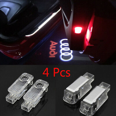 4X For Audi A1 A2 A3 R8 LED Door Step Courtesy Light Laser Shadow Logo Projector