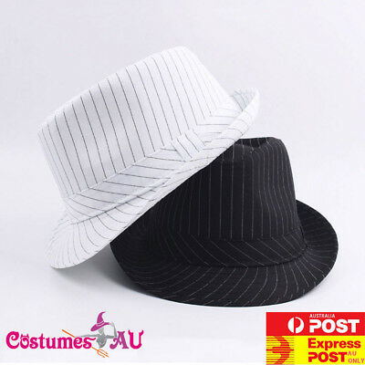 4b61bff0d9d6e Mens 1920s 20s Gangster Hat Trilby Al Capone Gatsby Party Black White  Costume