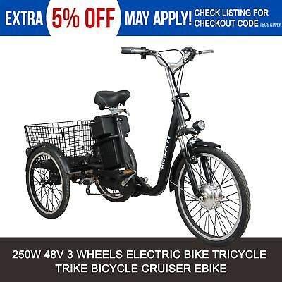 New Black 250W 48V Electric Tricycle Bike Ebike Uber City Scooter Trike Bicycle
