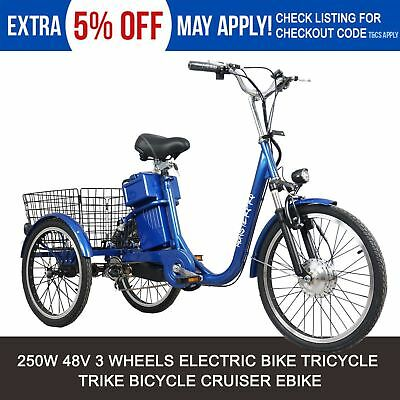 Blue Tricycle Trike Vintage Cruiser Style 3 Wheel Electric eBike e Tricycle