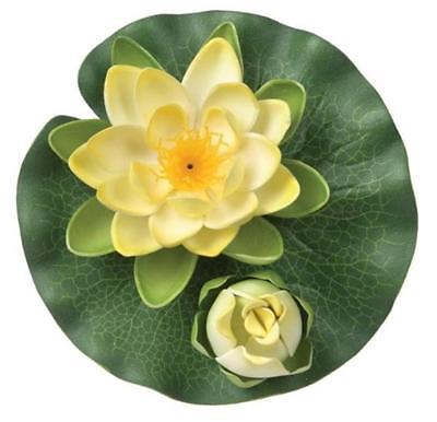 Silk Polyester Flower Floating Double Water Lily Yellow 15cm Home Yard Pond