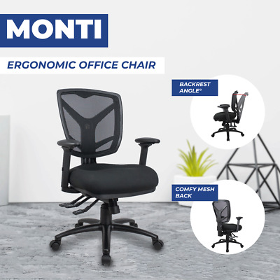 Mesh Chair Monti Ergonomic Office Task Desk Chair Arms AFRDI Seats 135kg Tested