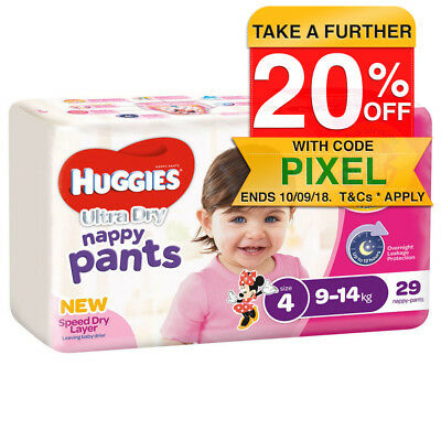 Huggies 29PK Nappy Pants/Diapers Toddler/Girls 9-14kg Soft Size 4 Minnie Mouse