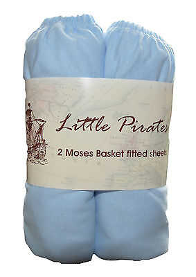 2 x Baby Crib/ Moses Basket Jersey Fitted Sheet 100% Cotton Blue 30x75cm