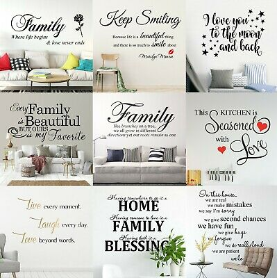 Quotes Wall Stickers Family Kids DIY Removable Vinyl Decal Mural Home Decoration