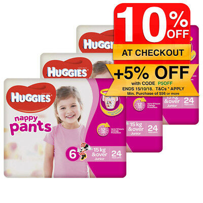 Huggies 72PK Nappy Pants/Diapers Junior Girls 15kg+ Soft Size 6 Minnie Mouse