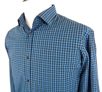 be04ccb2cd2a Hugo Boss Large Slim Fit Shirt Button Front Micro Check Blue Brown LS 16.5  34