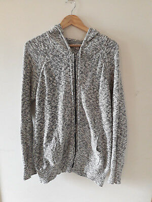Ripe Maternity Large Jumper Hoodie Knit Zip Up Motely black and white