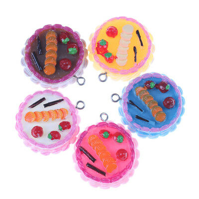 5pcs Fake Miniature Food Strawberry Cake Resin Craft Decoration For Doll House.