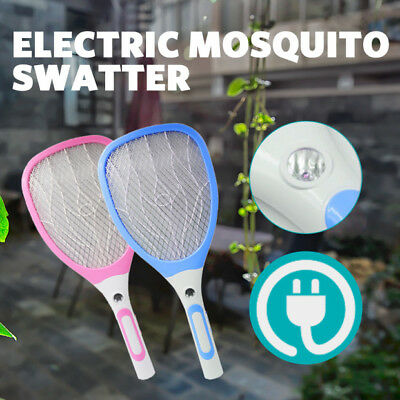 LED Electric Bug Fly Mosquito Killer Swatter Racket USB Rechargeable Blue Pink
