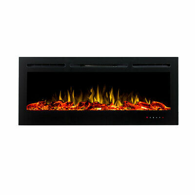 """NEW 50"""" Black Recessed Wall Mounted Electric Fireplace Heater 2in1 Pebble & Logs"""