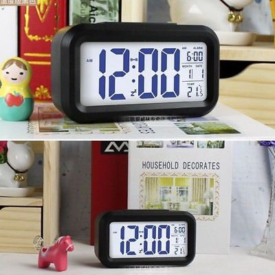 1x Digital LED Display Backlight Table Alarm Clock Snooze Thermometer Calendar