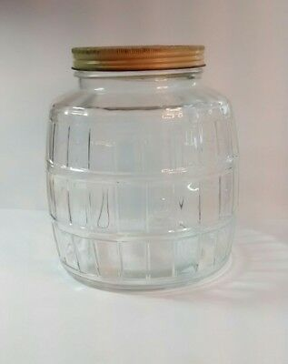 Vintage Barrel Style 1 Gallon Store Counter Glass Pickle Jar w/Lid