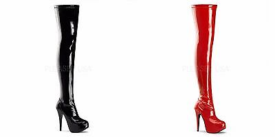 BORDELLO Teeze-3000 Red Black Platforms Sexy Fetish Club Thigh Boots Heels 5-11