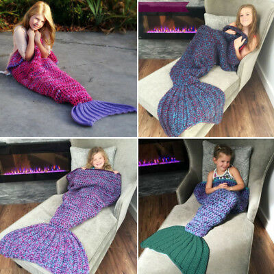 Scaled Mermaid Tail Blanket Crochet Knitting Colour Mixed Super Soft for Kids