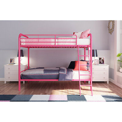 Twin Metal Bunk Bed Frame Double Deck Home Kids Bedroom Furniture