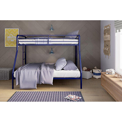 Twin Over Full Metal Bunk Bed Frame Dorm Bedroom Furniture Double Deck Blue New