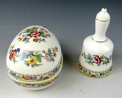 Lot of 2 Coalport China MING ROSE Large Egg box & Bell w/o ringer EX