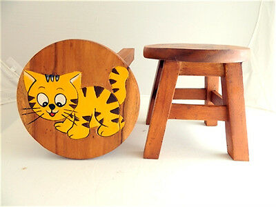 Childs Childrens Wooden Stool - Tiger Cub Kitten Step Stool