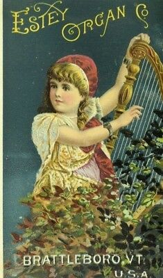 Chickering Newby & Evans Estey Organ Co. Lovely Girl Playing Harp P93