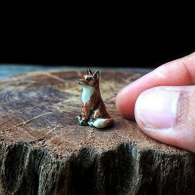 New Tiny Fox Dollhouse Miniature Ceramic Mini Figurine Hand Painted Cute Gift