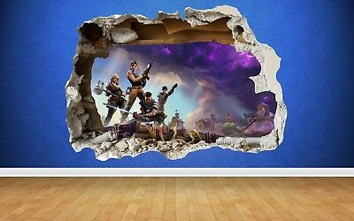 Amazing Fortnite 3D Effect Smashed Wall Sticker Self-Adhesive Art Transfer No 1
