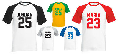 BASEBALL T-SHIRT - PERSONALISED (name&number) COOL SPORTY FAN GIFT