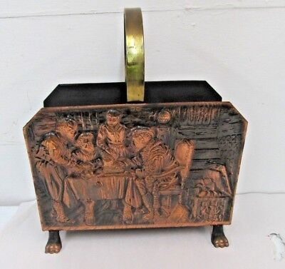Magazine Rack Stand Vintage Repousse Hammered Copper Claw Feet