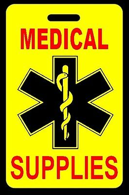 Safety Yellow MEDICAL SUPPLIES Luggage/Gear Bag Tag - FREE Personalization - New