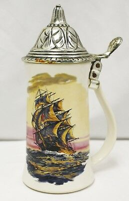 Vintage Nelson McCoy Pottery USA Clipper Ship Beer Stein with Lid