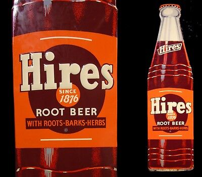 Large Vintage NOS Hires Root Beer Soda Pop Bottle Advertising Sign Enamel Metal