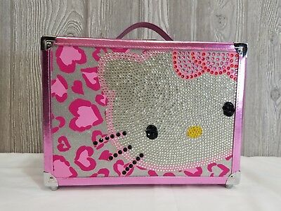 Hello Kitty Pink Makeup Travel Case Bejeweled Studded Bling