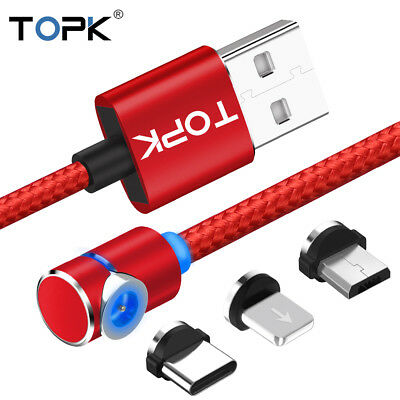 TOPK L-Line Magnetic LED 2M 90° Charging Cable For Type C/Micro USB/Lightning