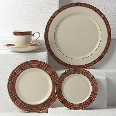 Lenox**winter Greetings Plaid**5 Piece Place Setting~1St Quality~In Gift Box!!