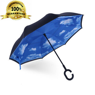 iTrunk Double Layer Reverse Folding Umbrella With C-Shaped Hands free Handle...