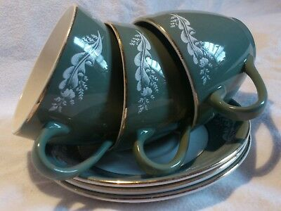 VINTAGE cups & saucers * LORD NELSON POTTERY * 3 grey / green 4 - 70 Design