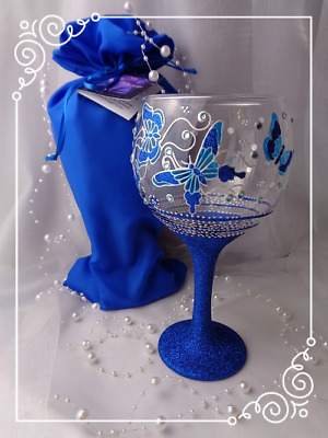 Personalised Butterfly LARGE Gin Balloon Glass Blue Glitter Hand Painted Gift