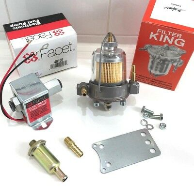 Facet 12V Electric Fuel Pump 40106 & Malpassi 67mm Filter King Regulator 8mm kit