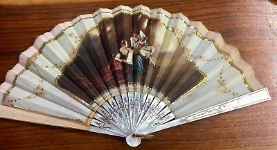 Antique Victorian Mother of Pearl Gold Inlay Hand-Painted Fan